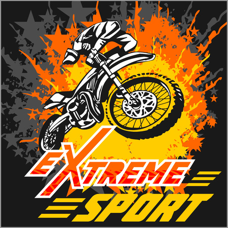 Vettore eXtreme sport - motocross e l'emblema.