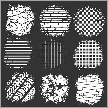 huellas de neumaticos: Fondos de Grunge - ladrillos, pistas de neum�ticos y otros - conjunto de vectores