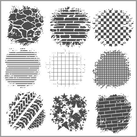 huellas de neumaticos: Fondos de Grunge - ladrillos, pistas de neumáticos y otros - conjunto de vectores