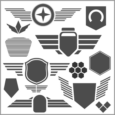 lys: Military and transport symbol icons - vector set