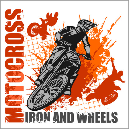 motocross race: Motocross sport - grunge vector emblem for t-shirts