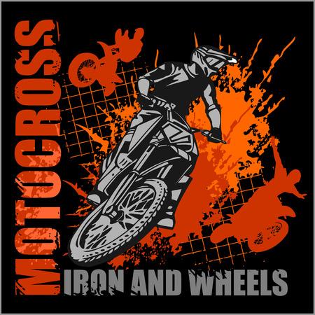 casco moto: Motocross deporte - grunge vector emblema de camisetas Vectores