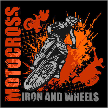motor cycle: Motocross sport - grunge vector emblem for t-shirts