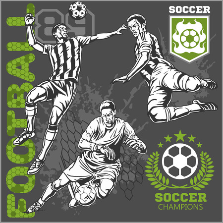Soccer and football players.    Ilustrace