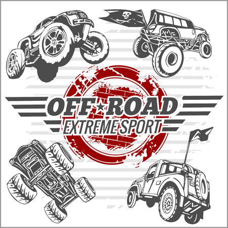 off on: Emblem with off-road cars  - vector set Illustration