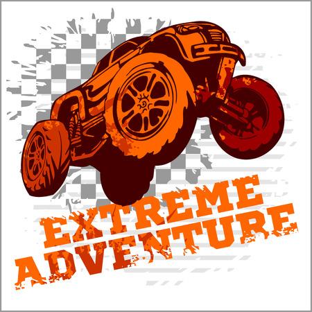 offroad car: Emblem with off-road cars  - vector illustration