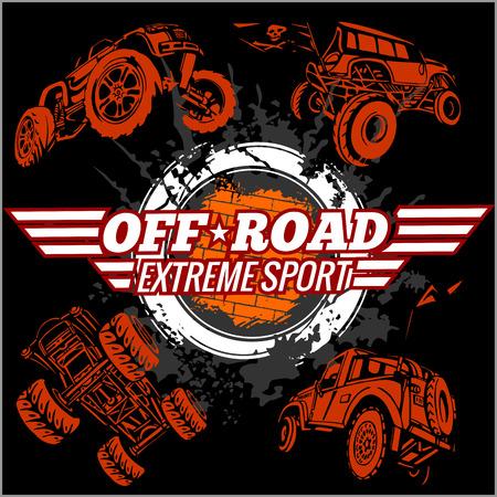 Emblem with off-road cars  - vector set Stock Illustratie