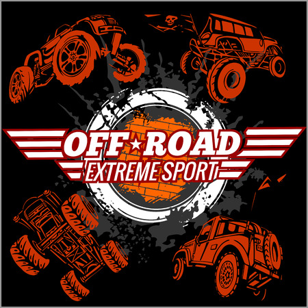 Emblem with off-road cars  - vector set Vettoriali