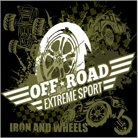 Emblem with off-road cars  - vector set Illustration
