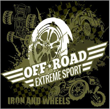 offroad: Emblem with off-road cars  - vector set Illustration