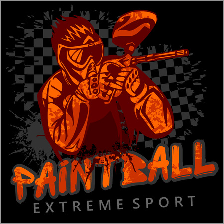 Paintball Team - vector emblem, extreme sport