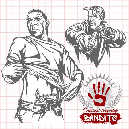 criminal: Bandits and hooligans - criminal nightlife. Vector illustration.