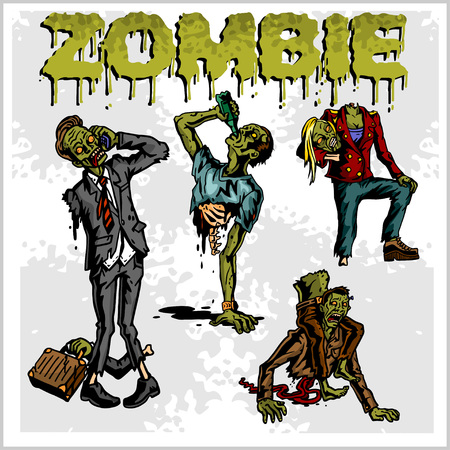 ghost character: Cartoon zombie. Set of color drawings of zombies. Illustration