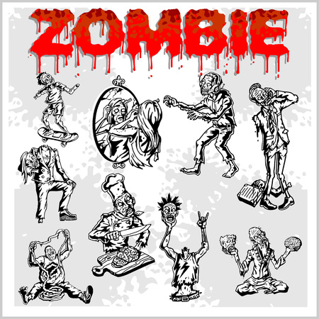 dangling: Cartoon zombie. Set of color drawings of zombies. Illustration