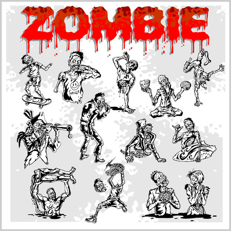 ghoulish: Cartoon zombie. Set of color drawings of zombies. Illustration