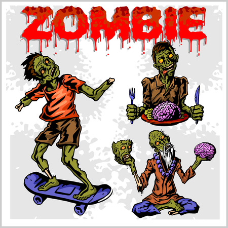 Cartoon zombie. Set of color drawings of zombies. Vettoriali