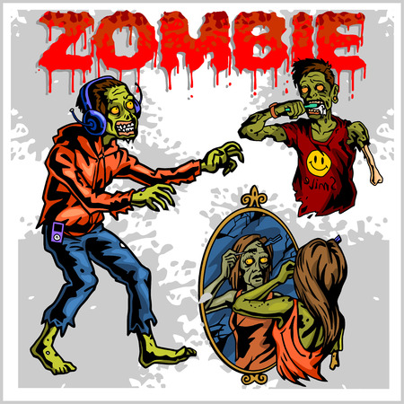 fear cartoon: Cartoon zombie. Set of color drawings of zombies. Illustration