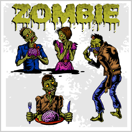 fear illustration: Cartoon zombie. Set of color drawings of zombies. Illustration