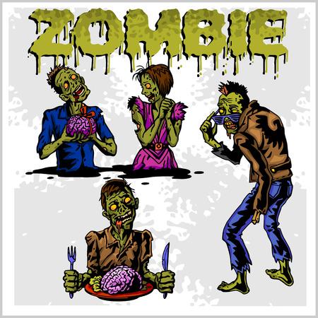 calavera caricatura: Zombi de la historieta. Conjunto de dibujos en color de zombies.