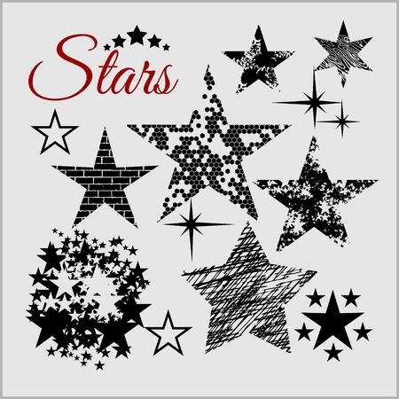 ベクトル グランジ スター コレクション。レトロな星の背景。  イラスト・ベクター素材