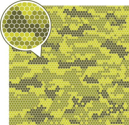 Digital camouflage seamless patterns - vector hexagons. Ilustração