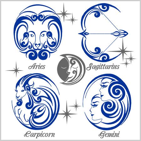 Signos e iconos del zodiaco en fondo ligero. Conjunto de vectores.