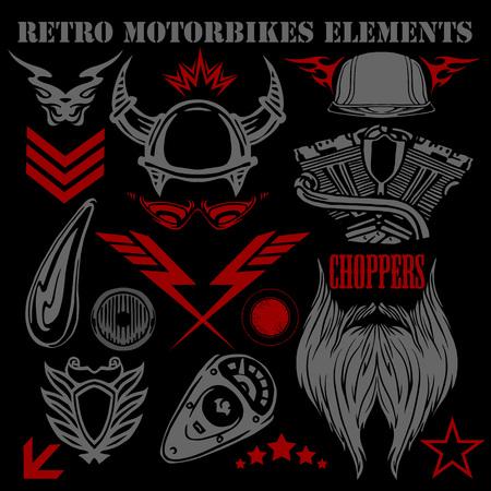 gang: Design elements vintage motorbikes - vector set. Illustration