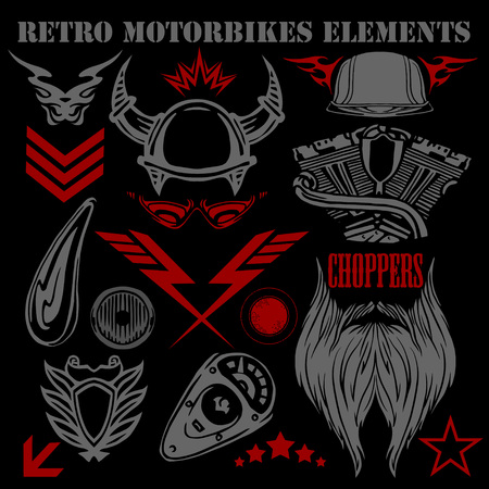 Design elements vintage motorbikes - vector set. Illustration