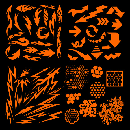 llamas de fuego: Los elementos de diseño - flechas llamas rayos y otros.