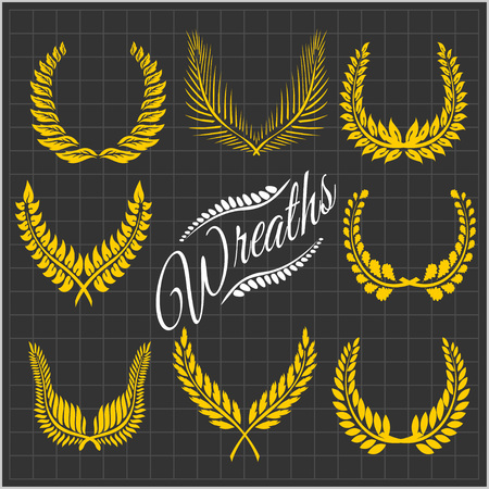 palm wreath: Laurel wreaths  -  wreaths of leaves. Vector collection.