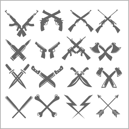 man with gun: Crossed Weapons - guns knives axes. Vector set.
