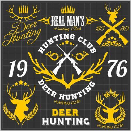 renna: Caccia al cervo. Set di badge etichette elementi di design logo. Simboli Retro Vintage. Illustrazione vettoriale.