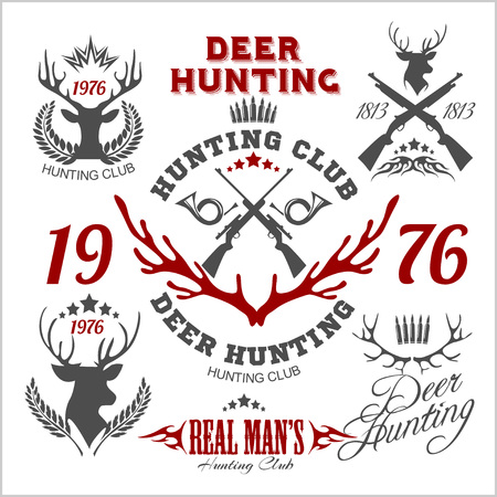 Deer Hunting Set Of Badges Labels Logo Design Elements Retro