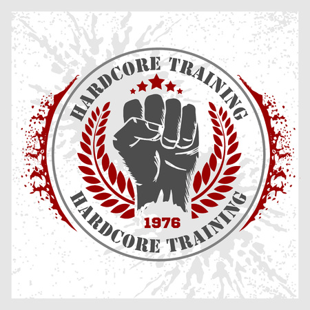 hardcore: Hardcore training - Fist and wreath. Fitness bodybuilding vintage label for flayer poster logo or t-shirt print with lettering and dumbbell