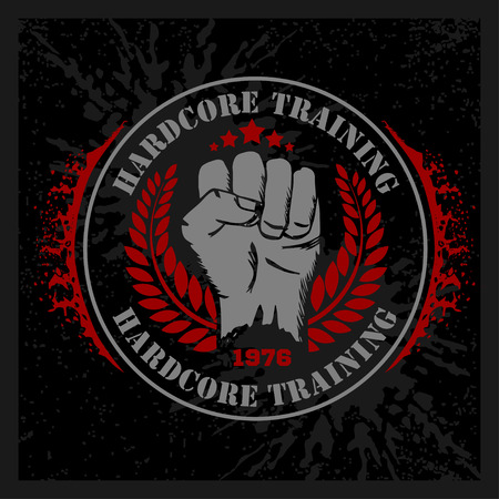 martial art: Hardcore training - Fist and wreath. Fitness bodybuilding vintage label for flayer poster logo or t-shirt print with lettering and dumbbell