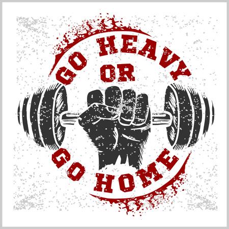 fitness: Bodybuilding fitness etichetta annata per il flayer manifesto logo o T-shirt stampata con scritte e manubri