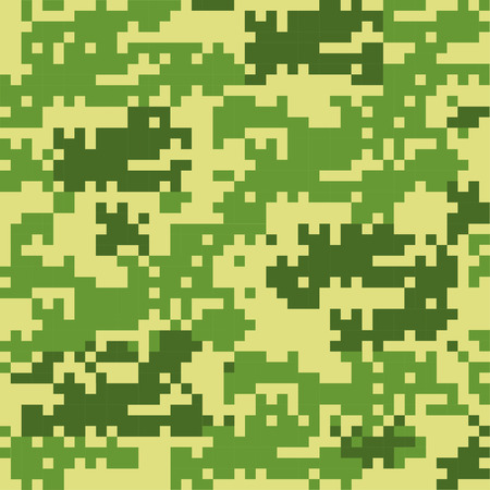 disruptive: Digital camouflage seamless patterns - vector set green squares.