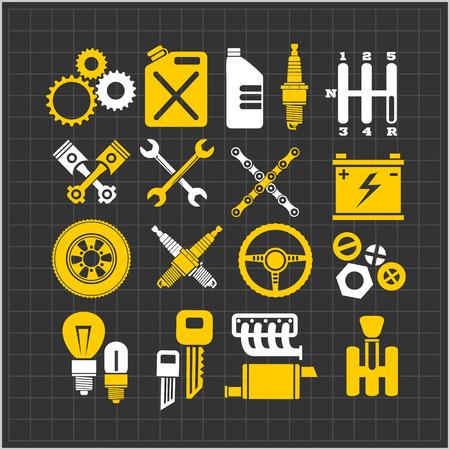 car brake: Car part icons set on a dark background. Vector Illustration.