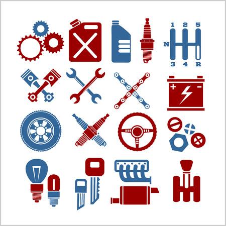 repuestos de carros: Iconos de piezas de coches establecidos sobre un fondo claro - ilustración vectorial.