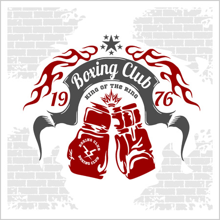 Boxing emblem in light background. Vector stock.