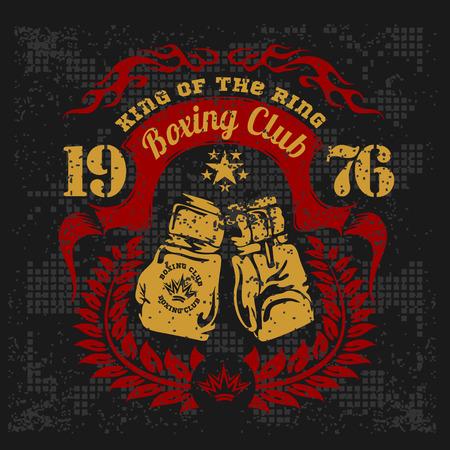 グランジ背景にボクシングのヴィンテージのロゴ。ベクトル紋章。