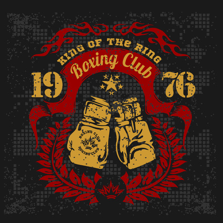 rings: Vintage logo for a boxing on grunge background. Vector emblem. Illustration