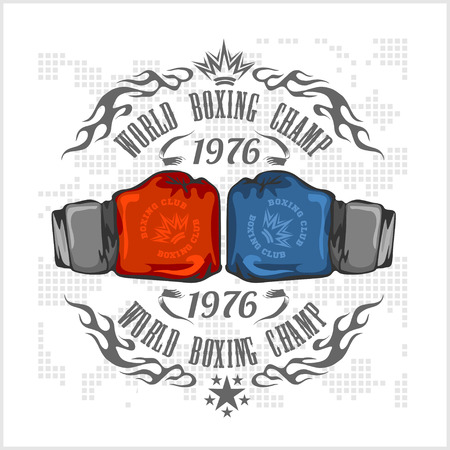 Boxing label and elements in light background. Vector illustration.