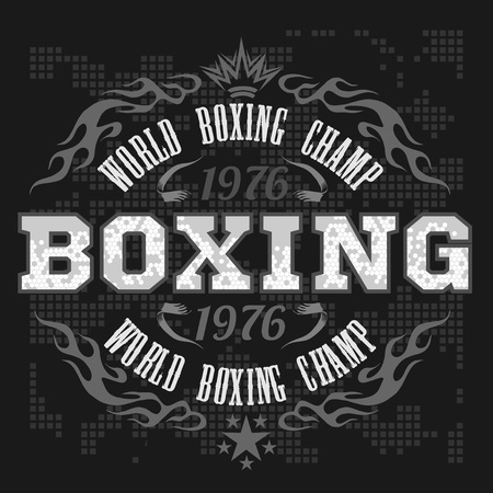 Boxing label and elements in dark background. Vector illustration.