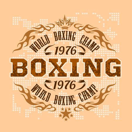 boxing: Boxing vintage vector label for poster, flyer or t-shirt print with flames and lettering. Vector stock.
