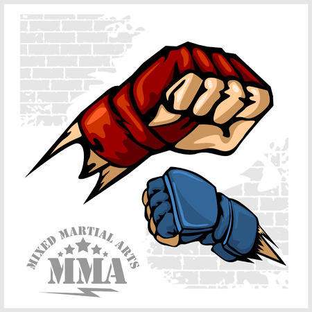 cage: Fist punch - MMA mixed martial arts emblem badges. Vector set.