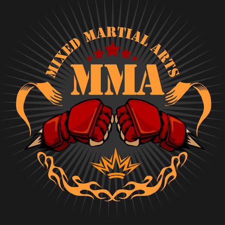 cage: MMA mixed martial arts emblem badges. Vector emblem.