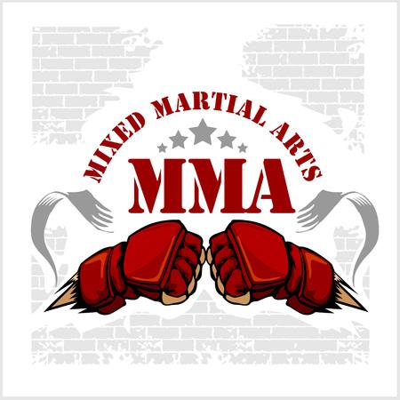artes marciales mixtas: MMA Mixed Martial Arts insignias emblema. Vector emblema.