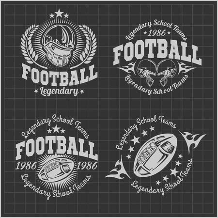 Football américain - vector labels vintage pour affiche, dépliant ou t-shirt impression et sportswear.