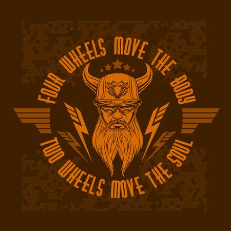 Bearded biker - Vintage bikers badge. Vector illustration. Illustration